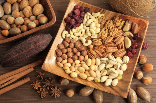 Assorted-nuts-in-wooden-bowl