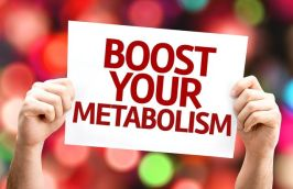 Boost Your Metabolism card with colorful background with defocused lights